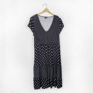 Torrid Polka Dot Challis Tiered Midi Dress 1X